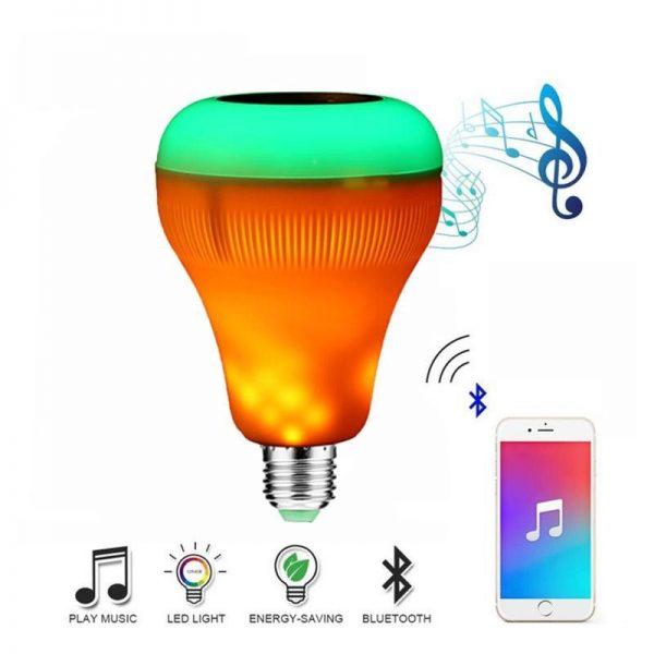 Bec wireless cu difuzor, 12W, LED, telecomanda, bluetooth