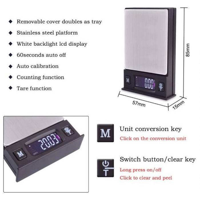 Cantar electronic pentru bijuterii, ecran LCD, max 200 g