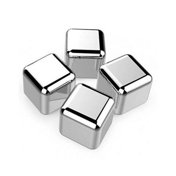 Set cuburi pentru racire bauturi, 4 bucăți, oțel inoxidabil