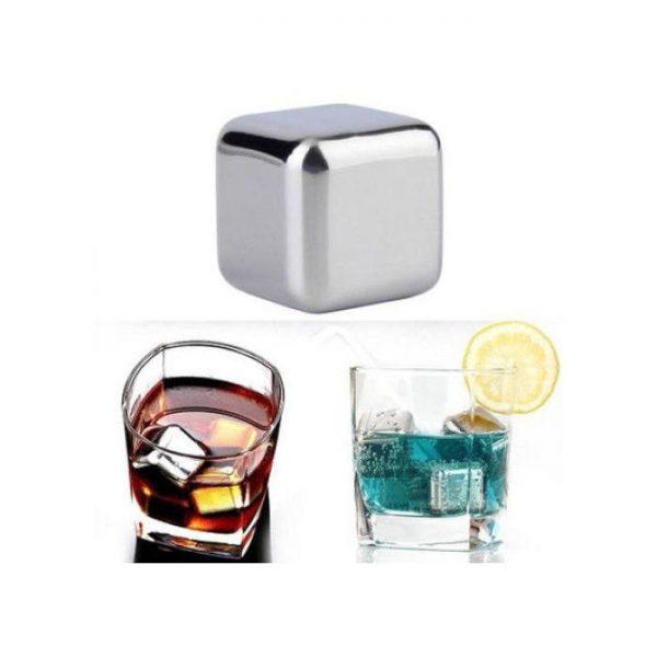 Cuburi racire bauturi, 4 bucăți, inox