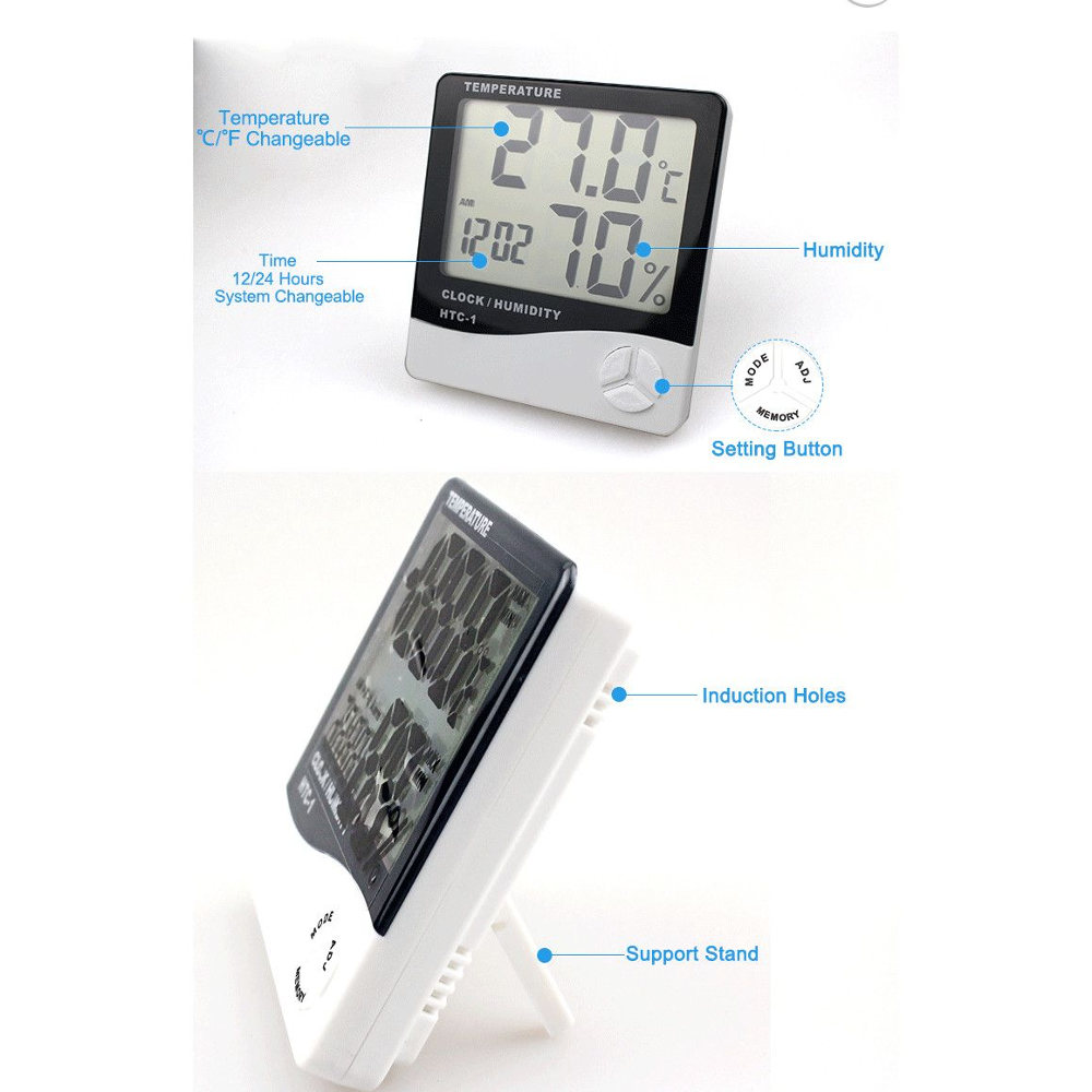 ceasul cu termometru afiseaza ora, temperatura si umiditatea