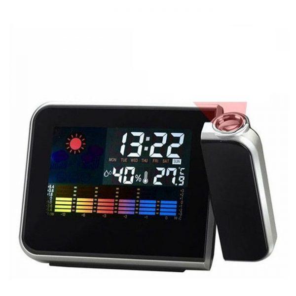 Ceas cu proiector pe perete, termometru, umiditate, alarma, calendar, prognoza meteo