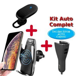 kit auto telefon: incarcator wireless auto pentru telefon, casca bluetooth, incarcator priza auto