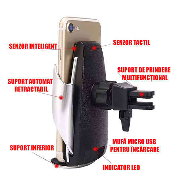 incarcator wireless auto pentru telefon