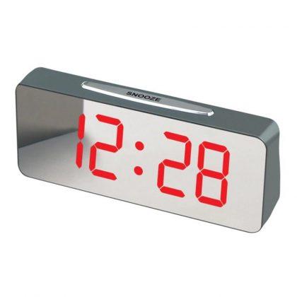 Ceas digital de birou cu LED, alarma, tip oglinda