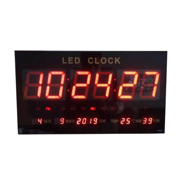 Ceas electronic de perete cu LED rosu, calendar, alarma, temperatura, model 4622