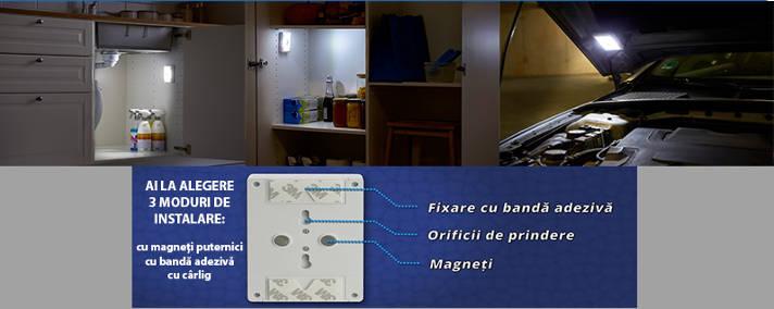 Intrerupator LED cu baterii, portabil, cu adeziv si magnet