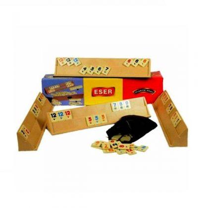 Joc de remi mare cu piese din plastic 43x8x6 cm, rummy